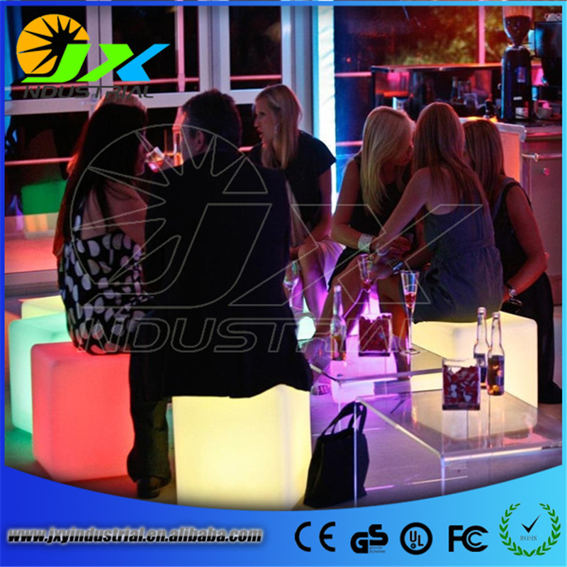 60*60*60cm best quality PE plastic illuminated rgb 16 colors change large led cube table chair seat lamp