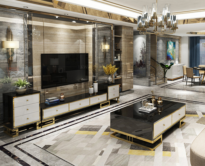 Gold Stainless Steel TV Stand Modern Living Room Marble Coffee Table + Tv Led Monitor Stand + 2 Cabinet Mueble Tv Cabinet Mesa