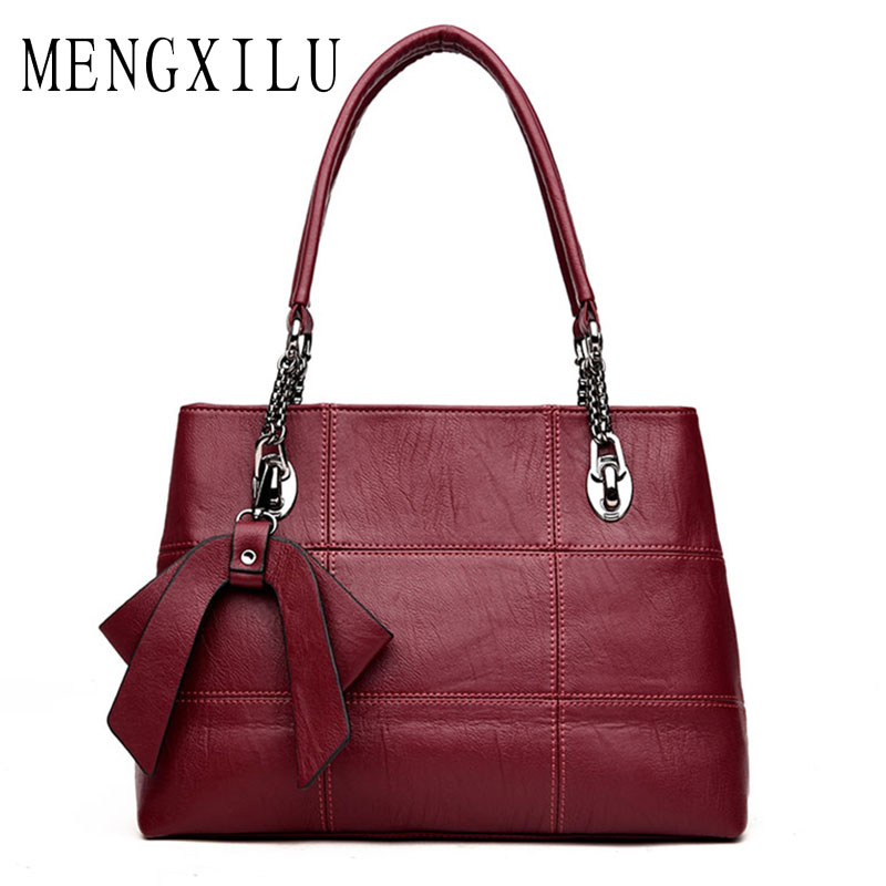 MENGXILU Sheepskin Leather Shoulder Bags Handbags Women Famous Brands 2018 Luxury Designer Bow Crossbody Bag Ladies Sac A Main купить