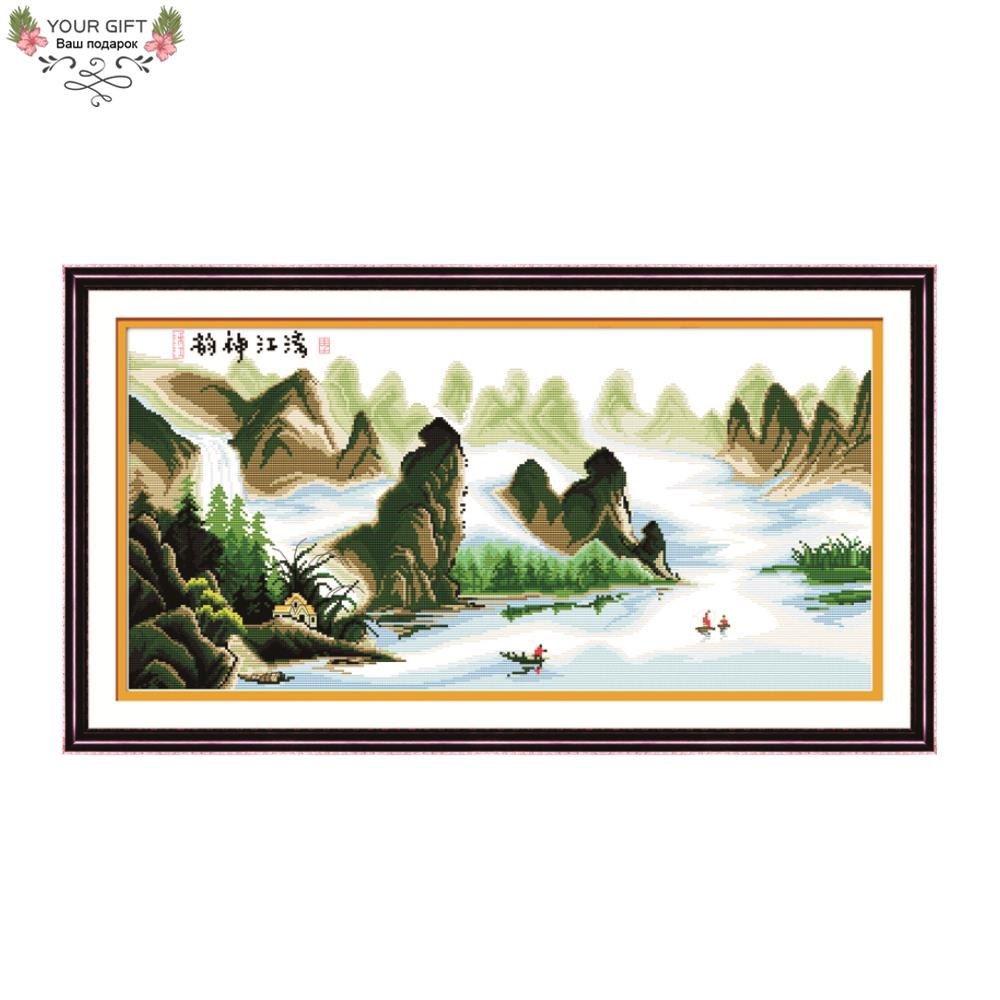 Joy Sunday F041 Free Shipping Counted and Stamped Home Decor Romantic Charm Of The Li River Embroidery Cross Stitch Kits