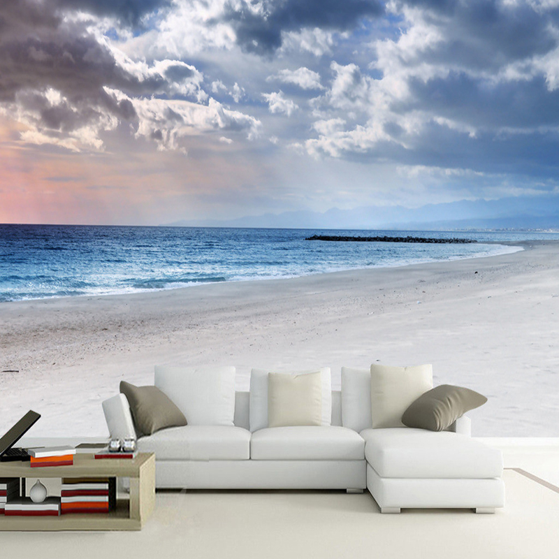 Modern simple blue sky and white clouds seaside landscape for Cloud wallpaper mural