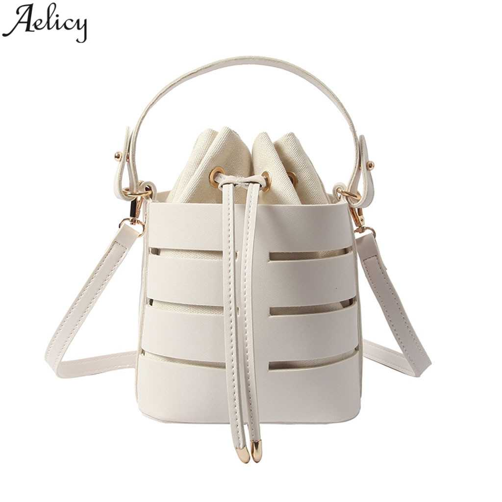 Aelicy Multi-layer Handbag Women's Fashion Hollowed Single Shoulder Bag Solid String Closure Softback Messenger Bags Bucket Pu