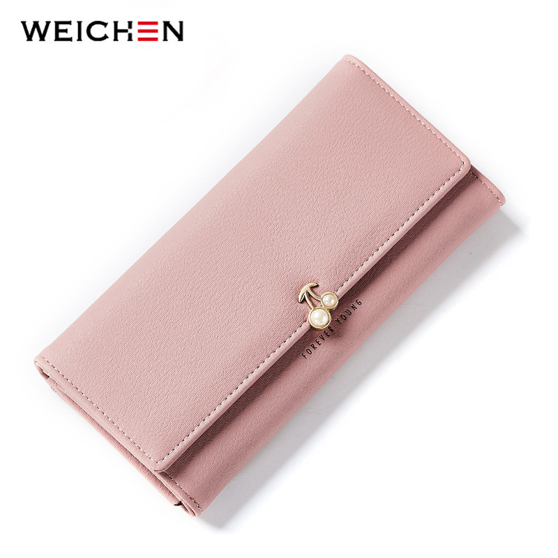 WEICHEN New Designer Pearl Cherry Women Wallet Party Clutch Purse Lady Long Wallets Female Card Holder Purses Carteira Feminina weichen women elegant long wallet clutch purses female portable multifunction long solid card coin change purse bags lady