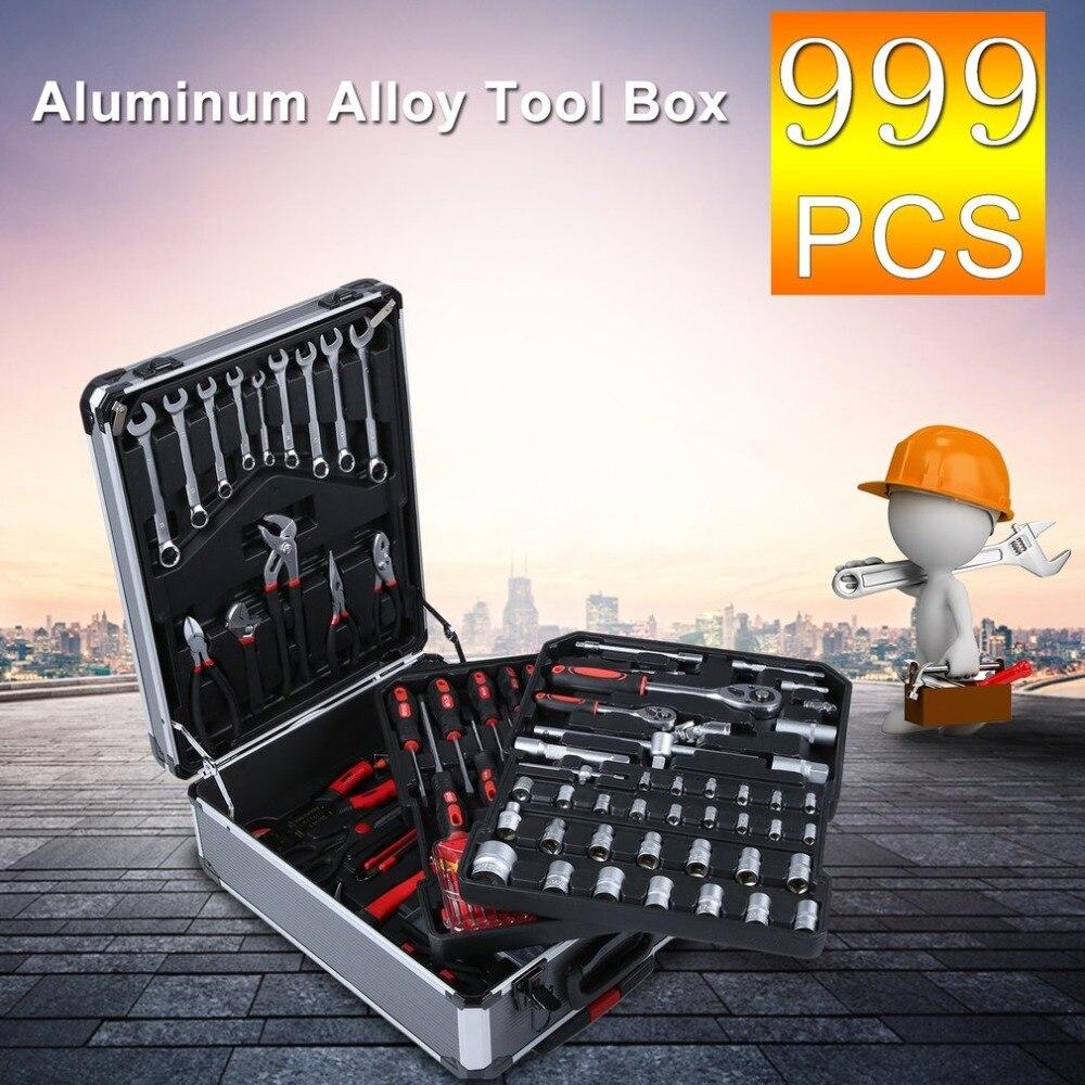999pcs/set Multifunctional Aluminum Alloy Trolley Case Home Auto Repair Car Care Maintenance Tool Set Workshop Equipment NEW
