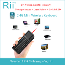 Cheaper Rii Keyboard Rii mini V3 k01 2.4Ghz Wireless Keyboard Touchpad Backlit LED Laser Pointer Combo PC Teclado for Andorid TV Box
