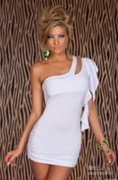 Vendita calda una spalla mini vestito 3S2078 bianco mini vestito sexy di trasporto libero a buon mercato mini vestito clubwear