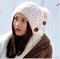 Шляпа утолщение крышки ручной работы крышка трикотажные женские вязание шапки модные женские зимние белый черный красный серый hat бесплатная доставка