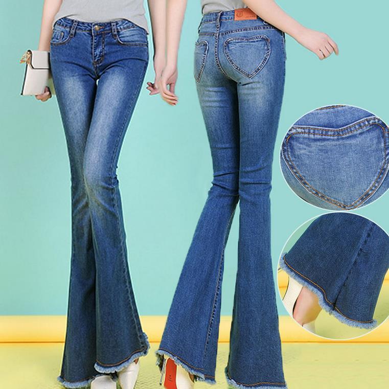 new fashion women flare pants stretch waist long jeans female trousers wide leg pants plus size