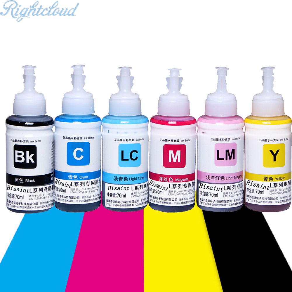 Hisaint 70 ml Refill Dye ink 6 Ink Cartridge Ink For Epson L101 L111 L201 L211 L301 L351 L353 L L551 L558 For ESPON printer ink universal 6 color dye ink for epson 100ml bottle ink r230 r220 r200 t50 1400 1390 r260 r265 r280 printer cartridge