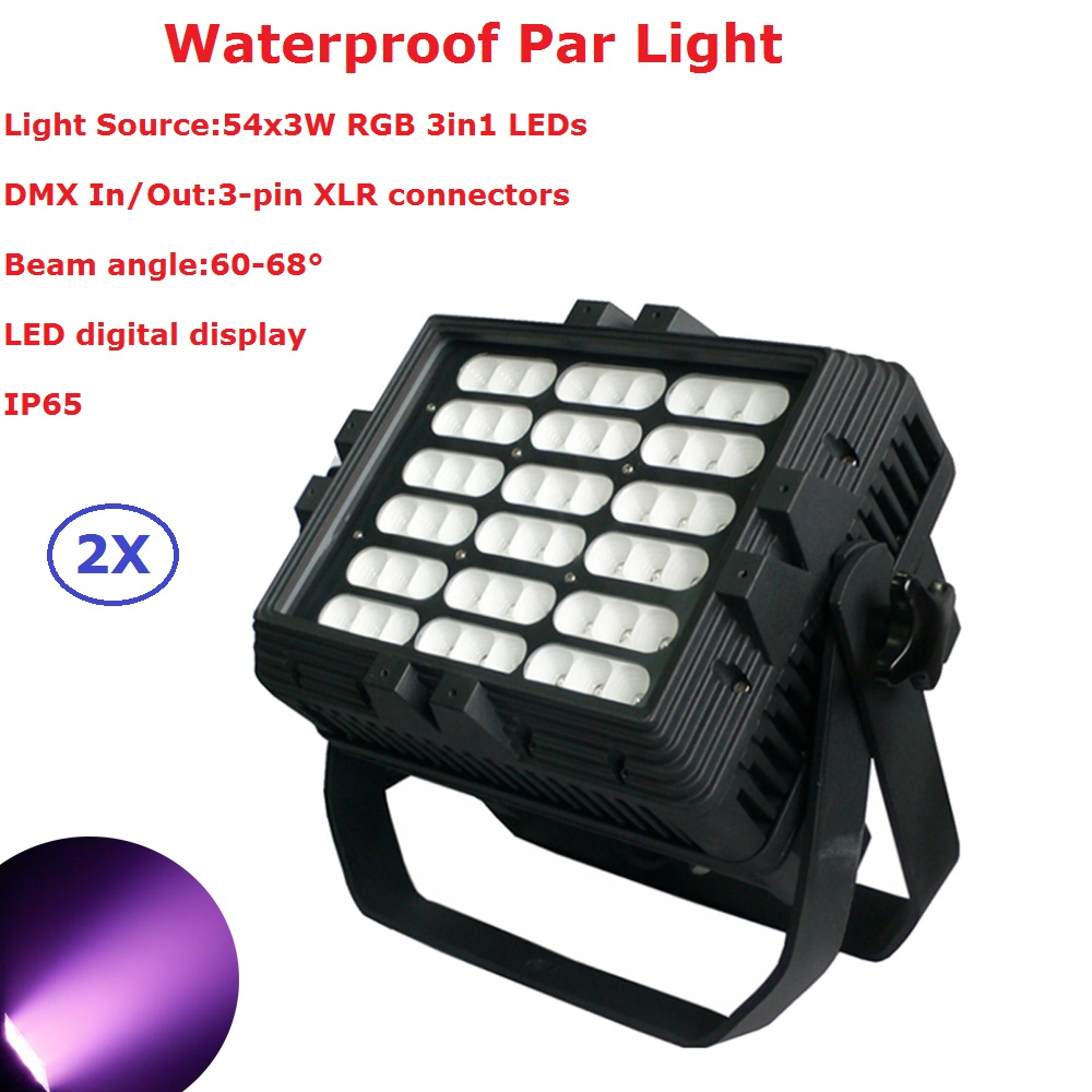 2Pcs/Lot Carton Package 54X3W Waterproof LED Par Lights RGB 3IN1 Outdoor Par Cans 60 - 68 Degree Beam Angle Fast Shipping 2pcs lot led par cans 54x3w rgb 3in1
