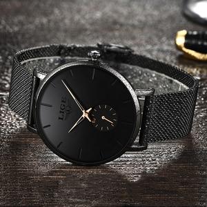 Image 2 - LIGE レディーストップブランドの高級カジュアルファッションウォッチの女性のクォーツ防水時計メッシュベルト女性腕時計レディース腕時計