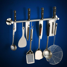 цены 304 Stainless Steel Kitchen Wall Shelf with Hooks Multi-function Cooking Tool Holders Kitchen Knives Holder Rack Storage Holder