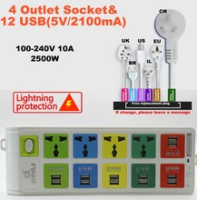 plug 4 Outlet Power Strip & 12 usb socket smart power socket with EU UK US universal power strip