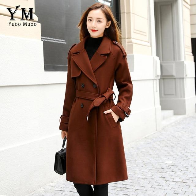 YuooMuoo manches longues col rabattu Long manteau en laine avec ceinture femmes automne hiver mince veste en laine de haute qualité