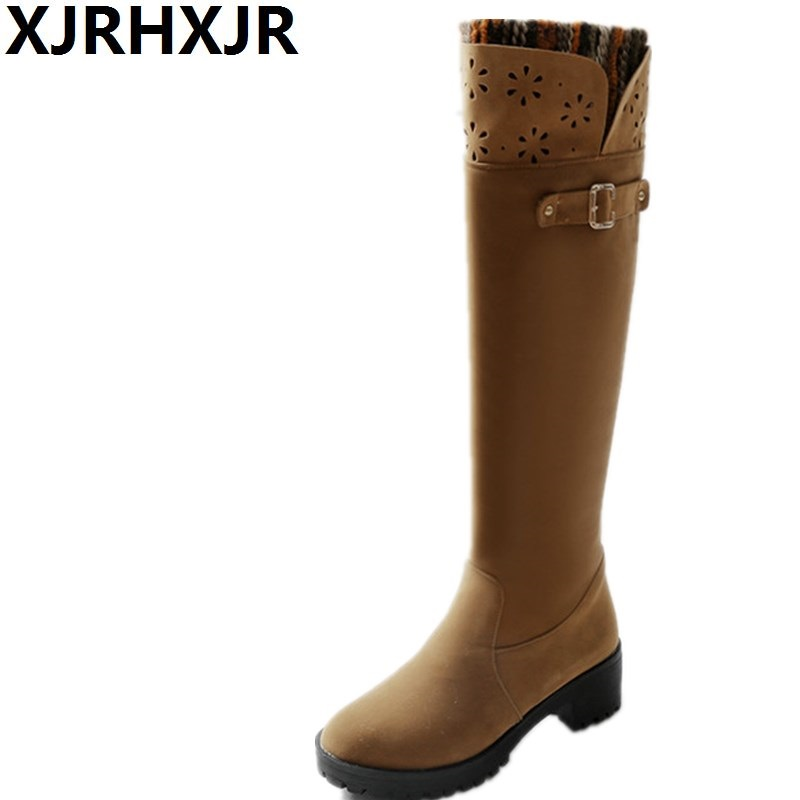 Fashion Med Heel Knee High Boots Winter Warm Shoes Woman Slip On Motorcycle Thigh High Boots Thick Heels Platform Shoes Boots