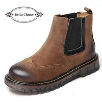 De La Chance Genuine Leather Ankle Boots For Women Low Heel Women Platform Short Boots Vintage