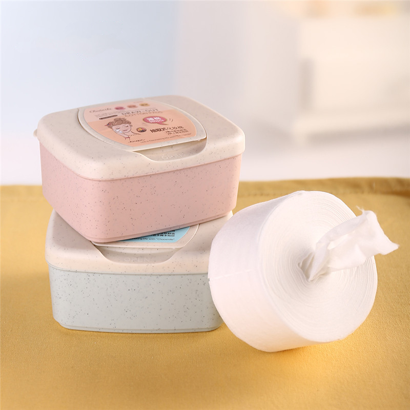 300pcs Draw-out Facial Makeup Cotton Pads Face Cleansing Puff Nail Polish Remover Removable Cosmetic Skin Care Pads with Case candy color calabash shaped cosmetic makeup cotton pads sponge puff pink