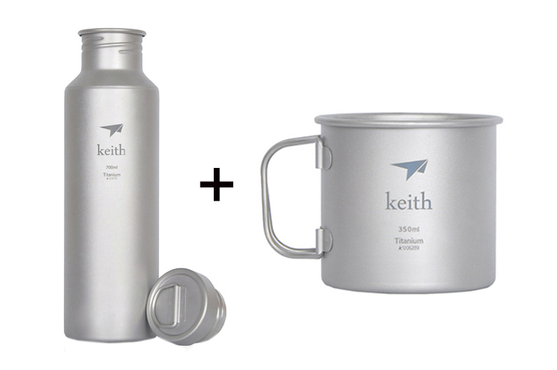 Keith Camping Cup Titanium Bottle Sport Mug Outdoor Bottle Picnic Water Ware Ti32811 keith ks813 double wall titanium water cup mug silver grey 220ml