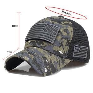 Image 5 - TACVASEN التكتيكية التمويه قبعات البيسبول الرجال الصيف شبكة قبعات الجيش العسكرية شيدت قبعات سائق الشاحنة القبعات مع العلم USA بقع