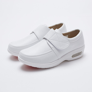 Image 2 - YAERNI Air Cushion Fall Winter Nurse Shoes Womens Platform Sneakers 2019 White Split Leather Loafers Women Moccasins with Fur