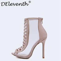 2018 Spring Summer New High Quality Women Boots Cuts Sexy Transparent Peep Toe Stiletto High Heels Shoes Woman Lady Ankle Boots