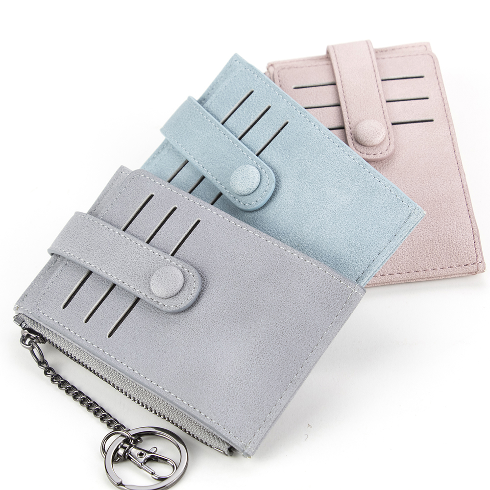 Multifunction Key Wallet Women Card Holder Key Chain Zipper Cash Purse Multi Color Matt Leather Key Bag Hook Style Key Case