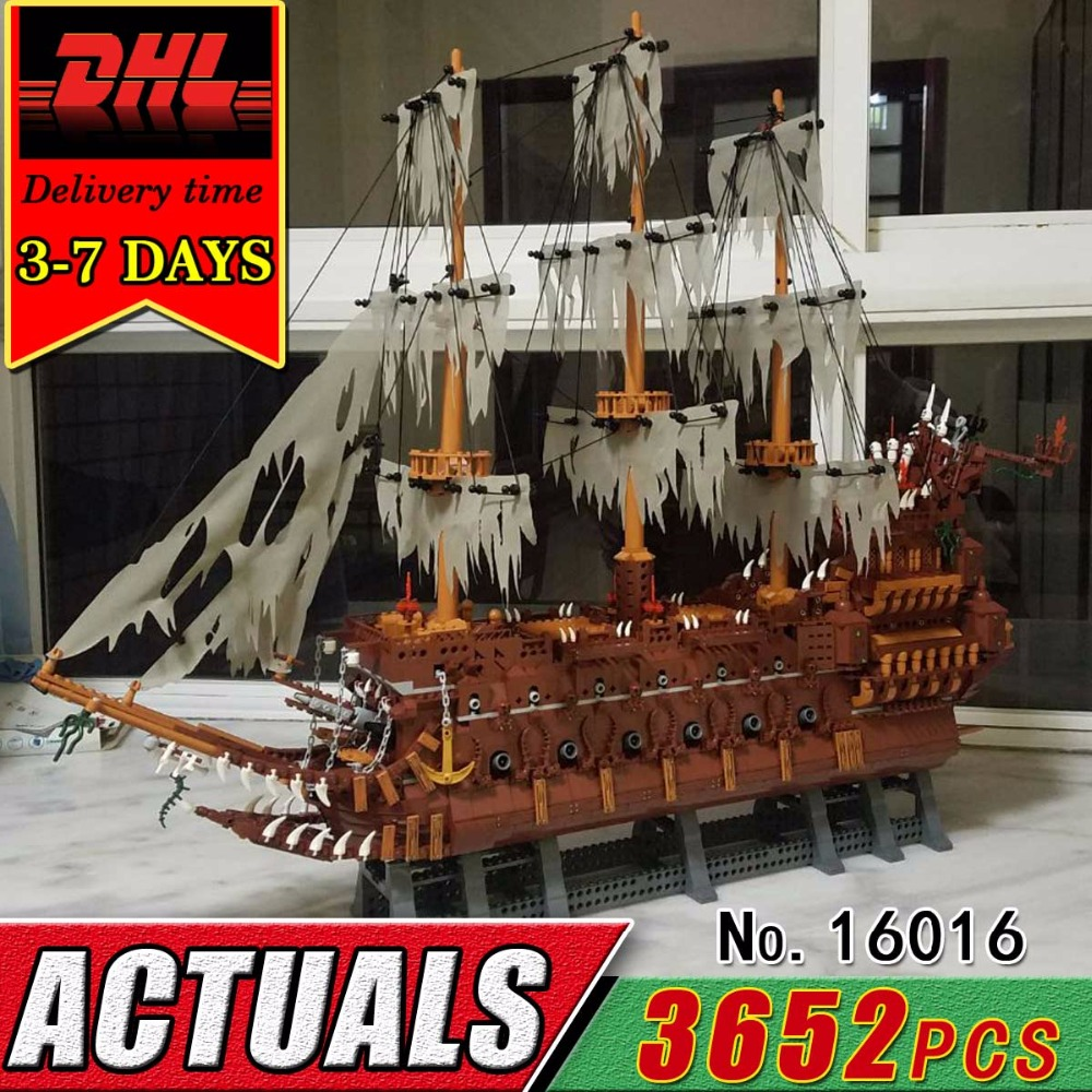 DHL LEPIN 16016 The Flying Netherlands Pirate Boat Building Blocks Model Set Caribbean War Ship Brick Toy Child Kid Compatible