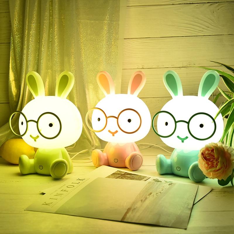 Lovely Modern Cute Baby Bedroom Lamp Rabbit Night Light Led Night Lamp Christmas Gift Bedside Decor Kids Glasses Rabbits Lights