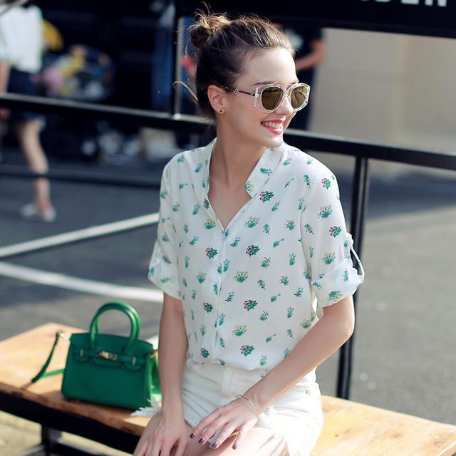 Camisas da forma das Mulheres Elegante Floral Impresso Casual Camisa Manga Três Quartos Chiffon Verão Tops Mulheres Camisas Do Vintage