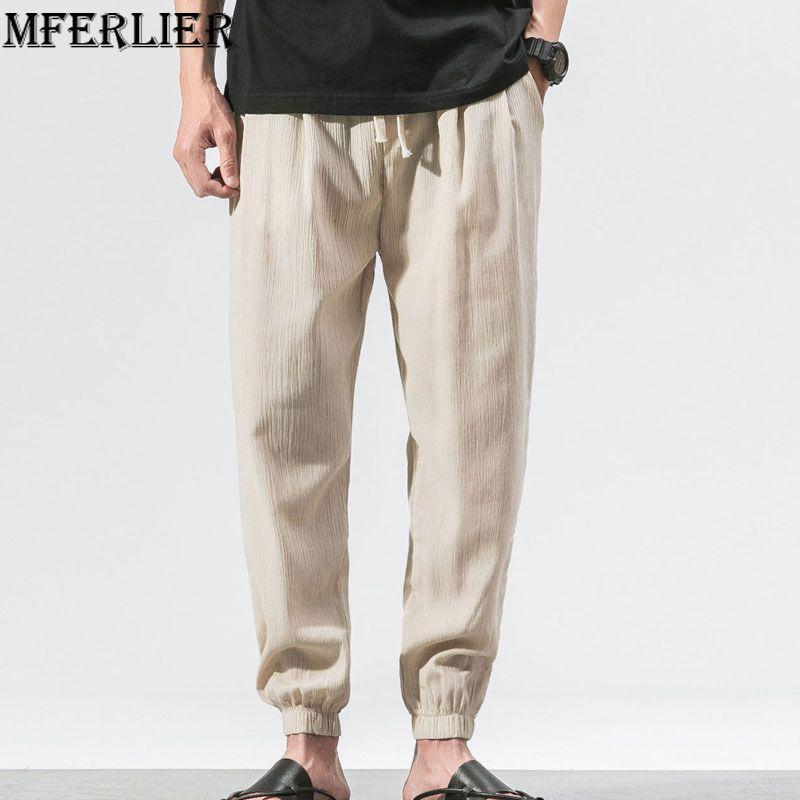 MFERLIER Loose Summer pants men size M-5XL thin style Harem Pants 4 colors