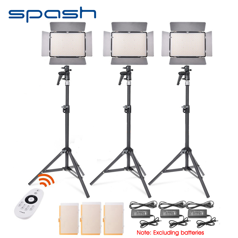 spash TL-600S 3pcs LED Video Light Photo Camera led Studio Light Panel Lamp Photography Lighting with Tripod CRI 95 5500K spash tl 240s 1 set led video light with tripod stand cri 93 3200k 5600k studio photo lamp led light panel photographic lighting