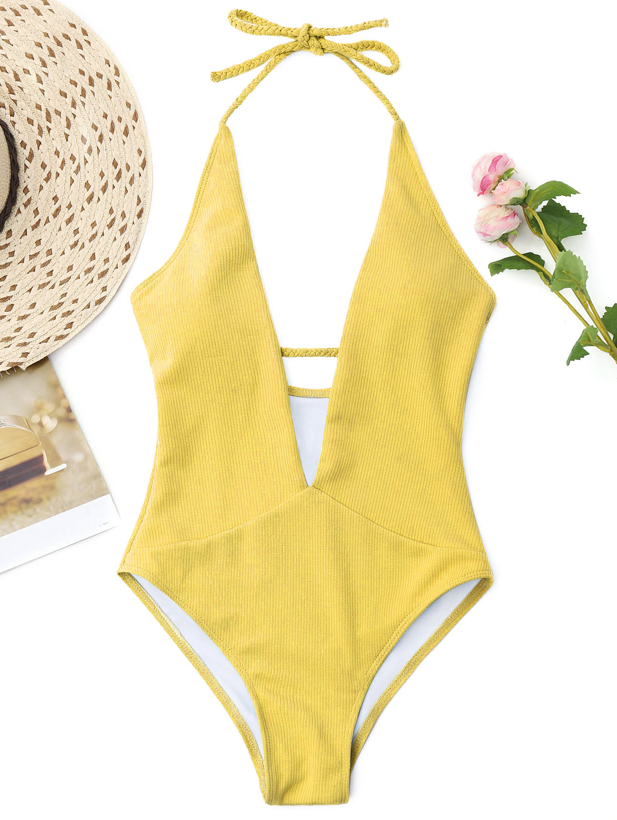ZAFUL 2018 New Women One Piece Plunge Neckline Ribbed Plaited Swimwear Women Swimsuit Padded Halter Low Cut Solid Bathing Suit trendy halter solid color one piece swimwear for women