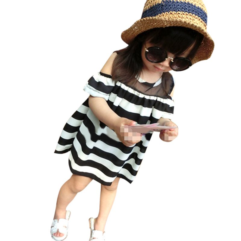 2-6 Y Toddler Infant Baby Girls Sheerness off Shoulder Mini Shirts Striped Dress New