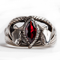 Unique LOTR Jewelry Aragorn's Ring in Red Stone 925 Silver Animal Snake Style Ring For Men Man Cosplay Gift Ring Dropshiping