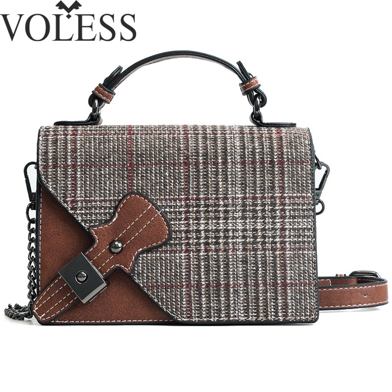 VOLESS Plaid Leather Women Crossbody Bags Famous Brand Long Chain Women tote bags Cute Mini Messenger Bags For Ladies Handbags