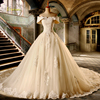 Loverxu Vestido De Noiva Sexy Boat Neck A Line Wedding Dresses 2018 Short Sleeve Appliques Beaded