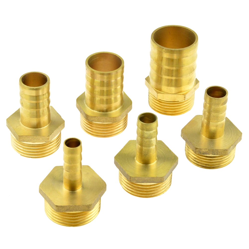 Brass Hose Pipe Fitting 10mm 12mm 14mm 16mm 19mm 32mm Barb Tail To 1 Inch BSP Male Thread Connector Joint Copper Coupler Adapter 5 pcs pneumatic air hose fitting 10mm brass straight barb adapter coupling