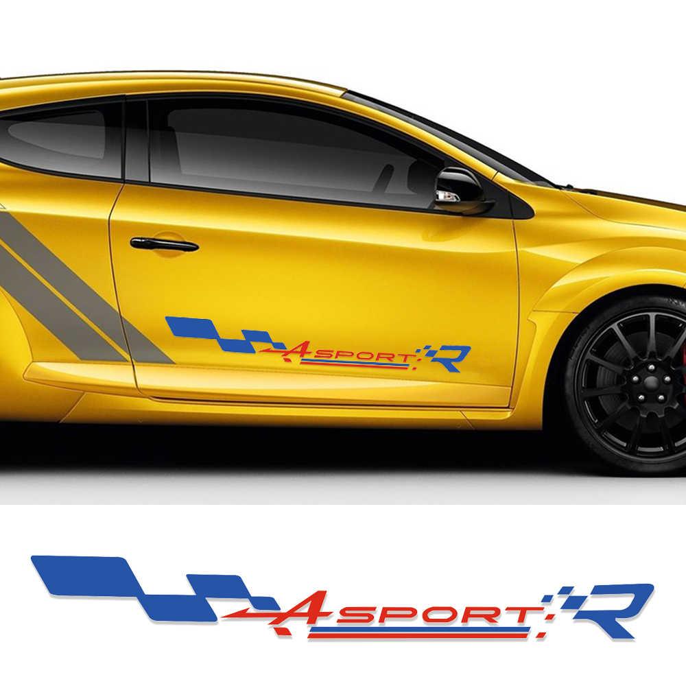 Reflectantes, estilo para el coche de carreras a cuadros bandera puerta pegatina lateral Calcomanía para Renault Sport Clio Twingo Megane pluster