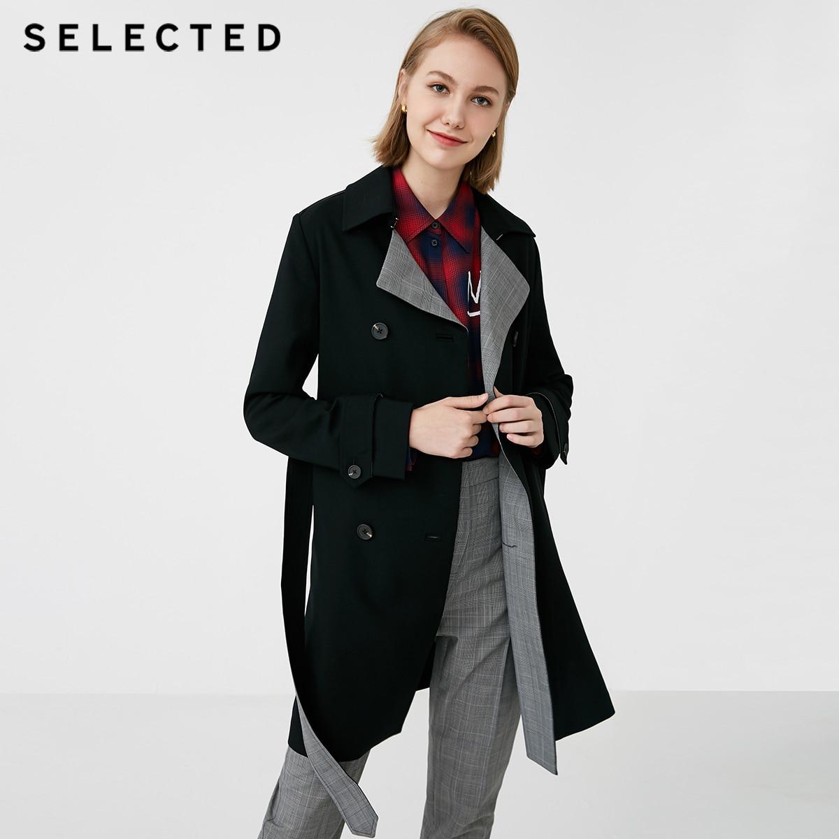 Selected 여성 모직 혼합 옷깃 체크 무늬 코트 s  418321526-에서트렌치부터 여성 의류 의  그룹 1