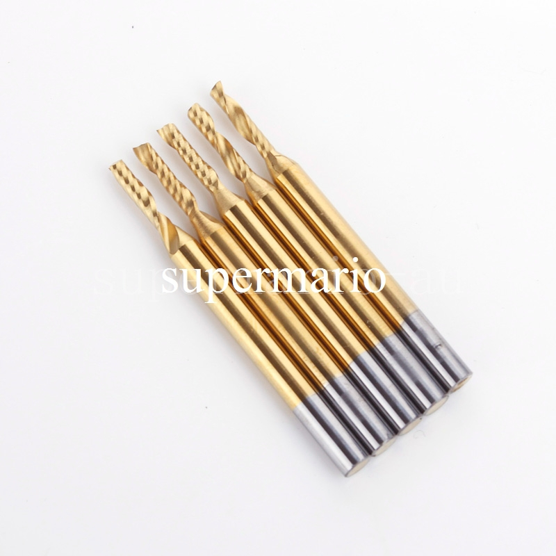 цена на 5PCS 1/8'' Titanium N2 Coated Carbide Engraving Bit One Single Flute CNC Router Bit Aluminum 3.175mm x 2mm x 8mm End Mill Cutter