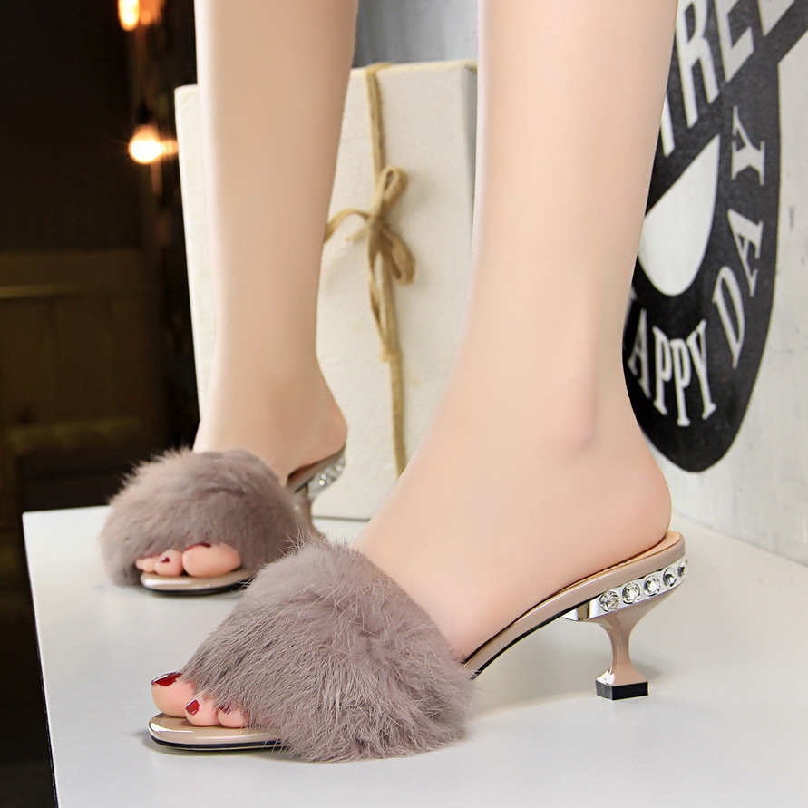 597a372bfaf9 Shoes woman rabbit fur Mules rhinestone Peep toe Slides High heels shoes  furry Slippers zapatos mujer black khaki white purple-in Slippers from Shoes  on ...