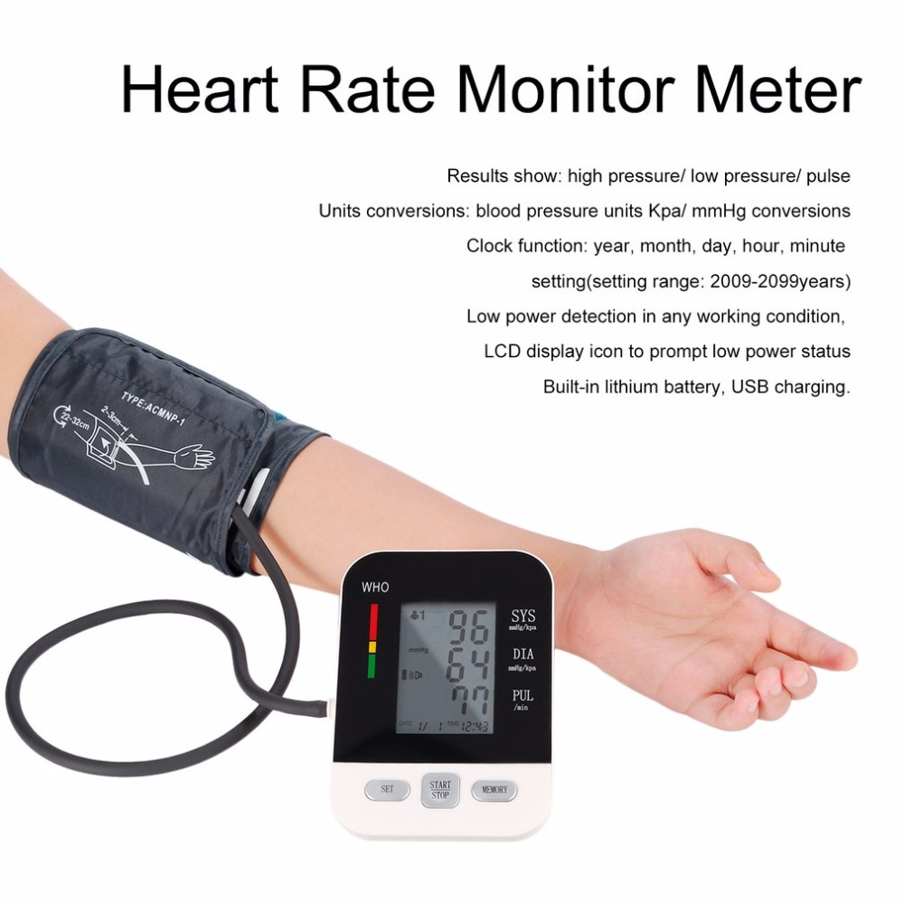 Upper Arm Digital Blood Pressure Monitor Health Care USB Rechargeable Electronic Sphygmomanometer Heart Rate Monitor Met home use blood pressure monitor health care heart monitor arm blood pressure monitor sphygmomanometer nonvoice