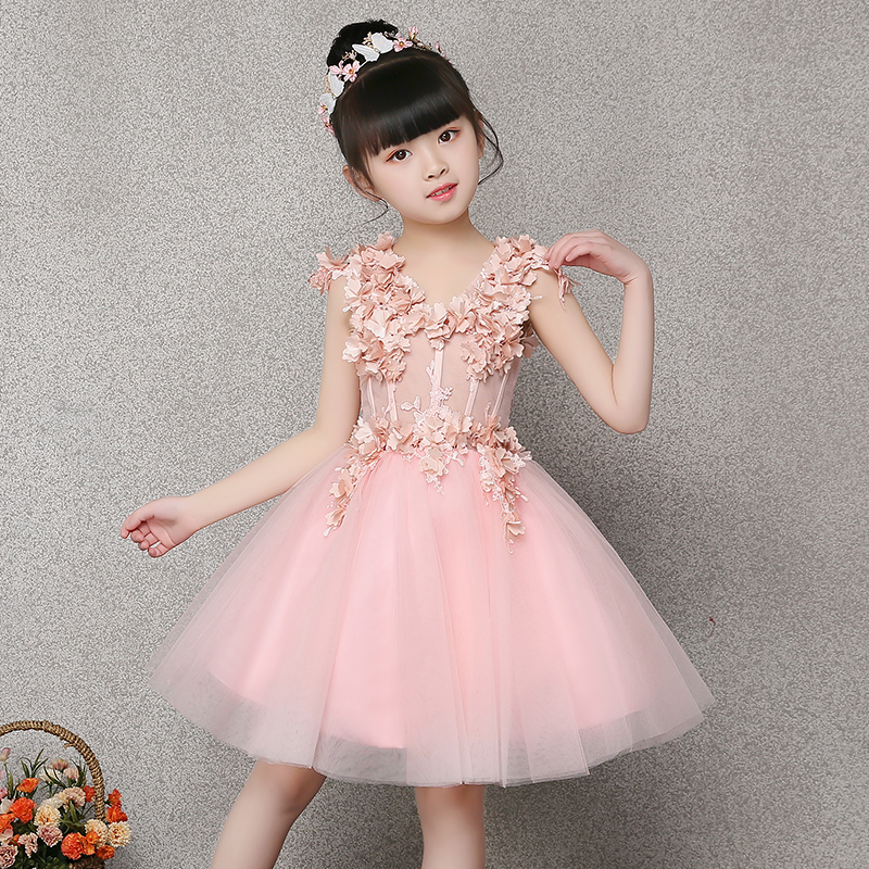 Pink Flower Girl Dress Appliques Ball Gown Evening Party Dresses Kids Pageant Gown Princess Dress Kids First Communion Gown E274