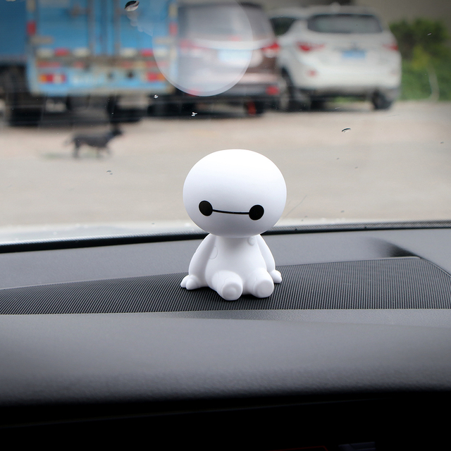 Cartoon Plastic Baymax Robot Shaking Head Figure Car Ornaments Auto Interior Decorations Big Hero Doll Toys Auto Accessories