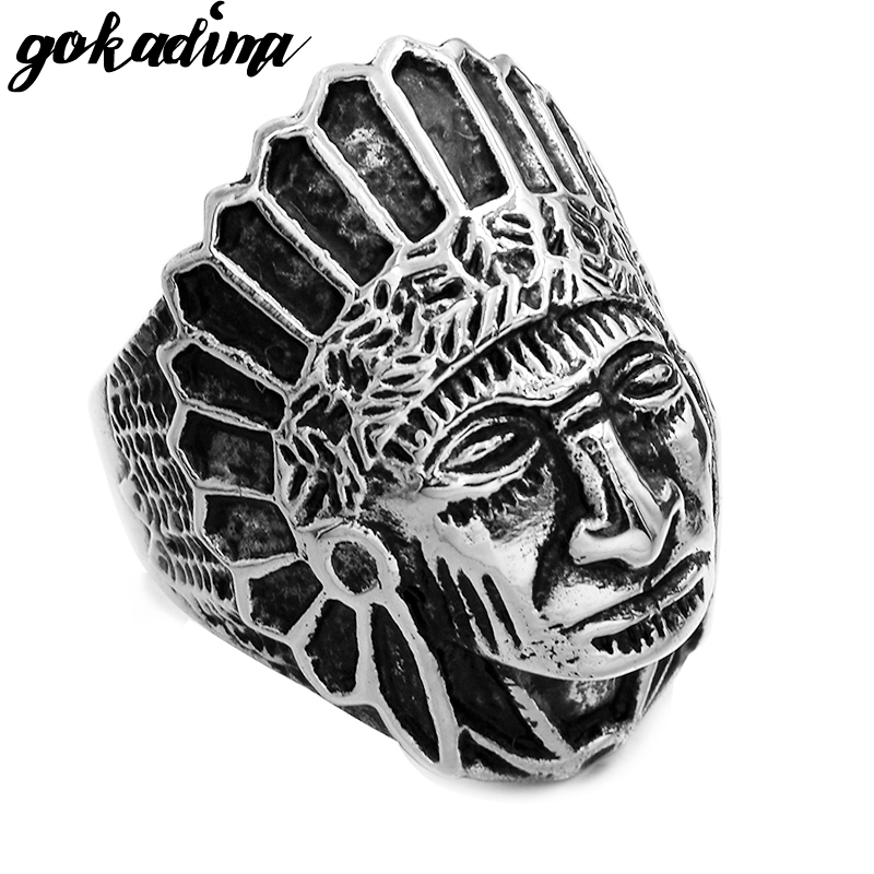 Fashion Tribe Stainless Steel Men Apache Indian Chief Head Ring Size 7-13 Punk Figure Jewelry WR307 vitaly ring