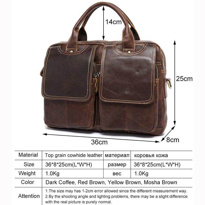 couro laptop bolsa 14 ''genuine Closure Tipo : Zipper Men Laptop Messenger Bags