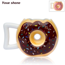 Hot Creative Ceramic Cup Cartoon Donuts Coffee Mugs Bread Cookies Milk Cups Lovely Ceramics Mug Couple Lemon Juice Drinkware