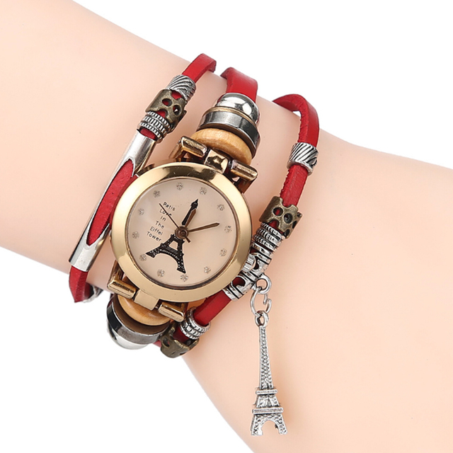 Vintage leather Bracelet Watch Eiffel Tower Watches Casual Women Crystal Tower P