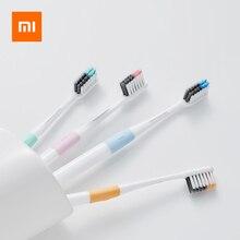 مجموعة من 4 فرش أسنان شاومي عالية الكثافة شعيرات ناعمة مضادة للبكتيريا فرش أسنان للبالغين 4 صناديق منفصلة للسفر