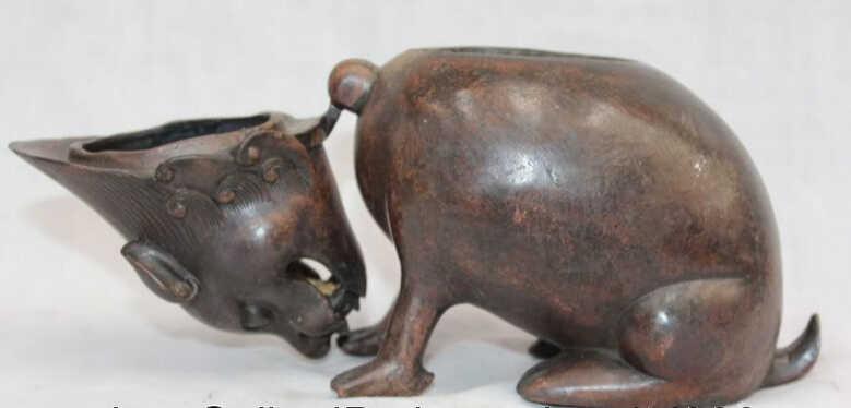 SCY voge gemma S1936 Cinese Viola Bronzo Anno Zodiacale Animale Di Mouse Statua Bruciatore di Incenso Censer D0318
